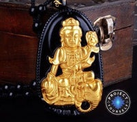 Gold+Natural Black Obsidian Eight Patron Saint Buddha Pendant Necklace Horse Necklace