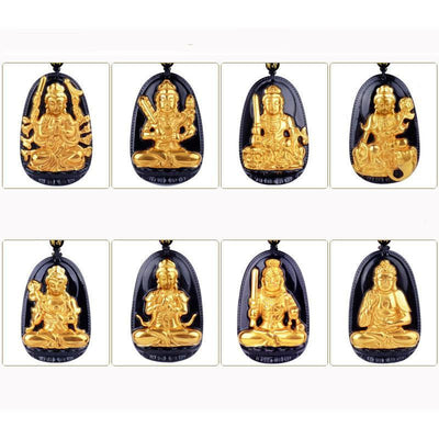 Gold+Natural Black Obsidian Eight Patron Saint Buddha Pendant Necklace Necklace