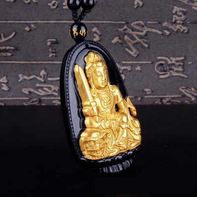 Gold+Natural Black Obsidian Eight Patron Saint Buddha Pendant Necklace Rabbit Necklace