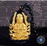 Gold+Natural Black Obsidian Eight Patron Saint Buddha Pendant Necklace Rat Necklace