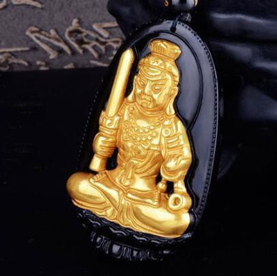 Gold+Natural Black Obsidian Eight Patron Saint Buddha Pendant Necklace Rooster Necklace