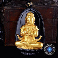 Gold+Natural Black Obsidian Eight Patron Saint Buddha Pendant Necklace Sheep / Monkey Necklace