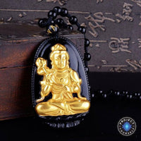 Gold+Natural Black Obsidian Eight Patron Saint Buddha Pendant Necklace Snake / Dragon Necklace