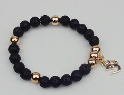Gold Plated OM Charm with Natural Stone Beads Bracelet Bracelet