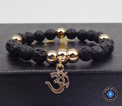 Gold Plated OM Charm with Natural Stone Beads Bracelet Lava stone Bracelet