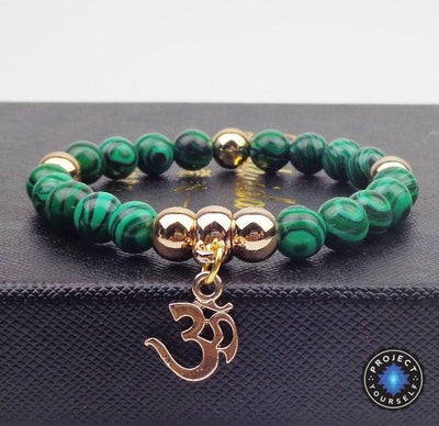 Gold Plated OM Charm with Natural Stone Beads Bracelet Malachite Bracelet
