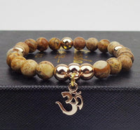 Gold Plated OM Charm with Natural Stone Beads Bracelet Picture Stone Bracelet