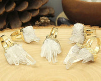 Gold Plated Raw Clear Crystal Quartz Cluster Ring Rings