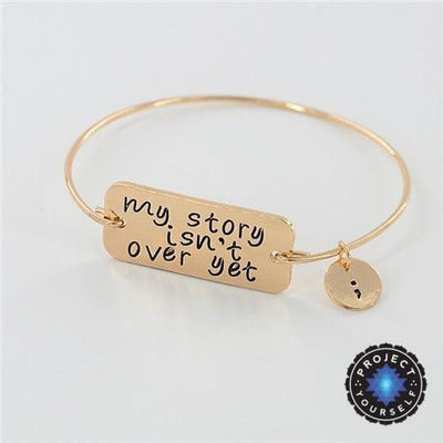 "Gold & Silver Plated ""My Story Isn't Over Yet"" Inspirational Wire Bangle Bracelet Gold Bracelet"
