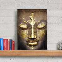 Golden Accents Buddha Head Painting Painting