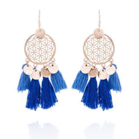 Golden Flower Of Life Tassel Earrings Blue Earrings