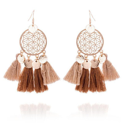 Golden Flower Of Life Tassel Earrings Brown Earrings