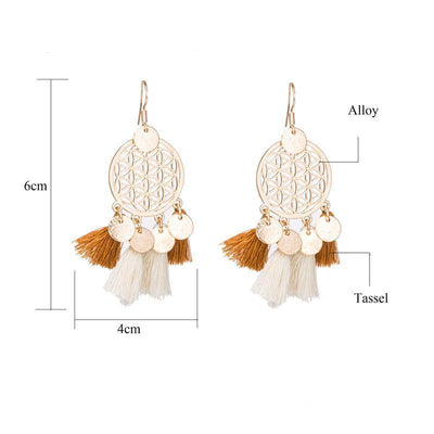 Golden Flower Of Life Tassel Earrings Earrings
