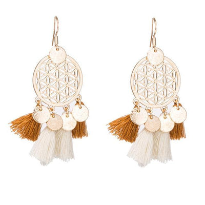 Golden Flower Of Life Tassel Earrings Golden Earrings