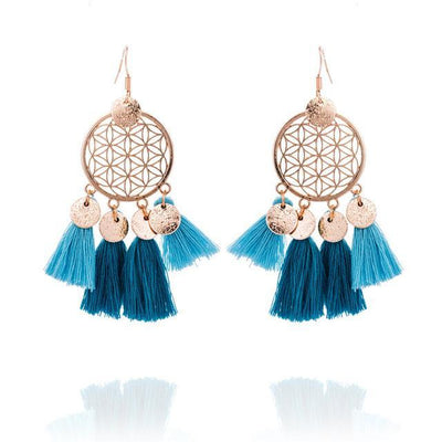 Golden Flower Of Life Tassel Earrings Ocean Earrings