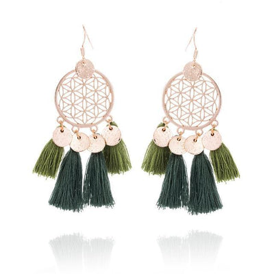 Golden Flower Of Life Tassel Earrings Olive Earrings