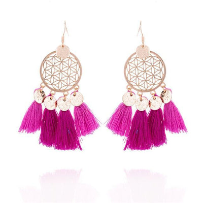 Golden Flower Of Life Tassel Earrings Pink Earrings