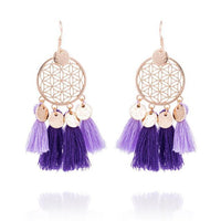 Golden Flower Of Life Tassel Earrings Purple Earrings