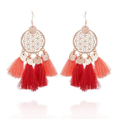 Golden Flower Of Life Tassel Earrings Red Earrings