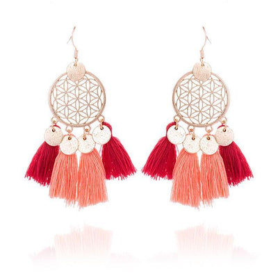 Golden Flower Of Life Tassel Earrings Salmon Earrings