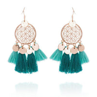 Golden Flower Of Life Tassel Earrings Teal Earrings