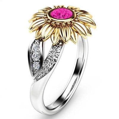 Golden Sunflower Crystal Ring Pink / 11 Rings