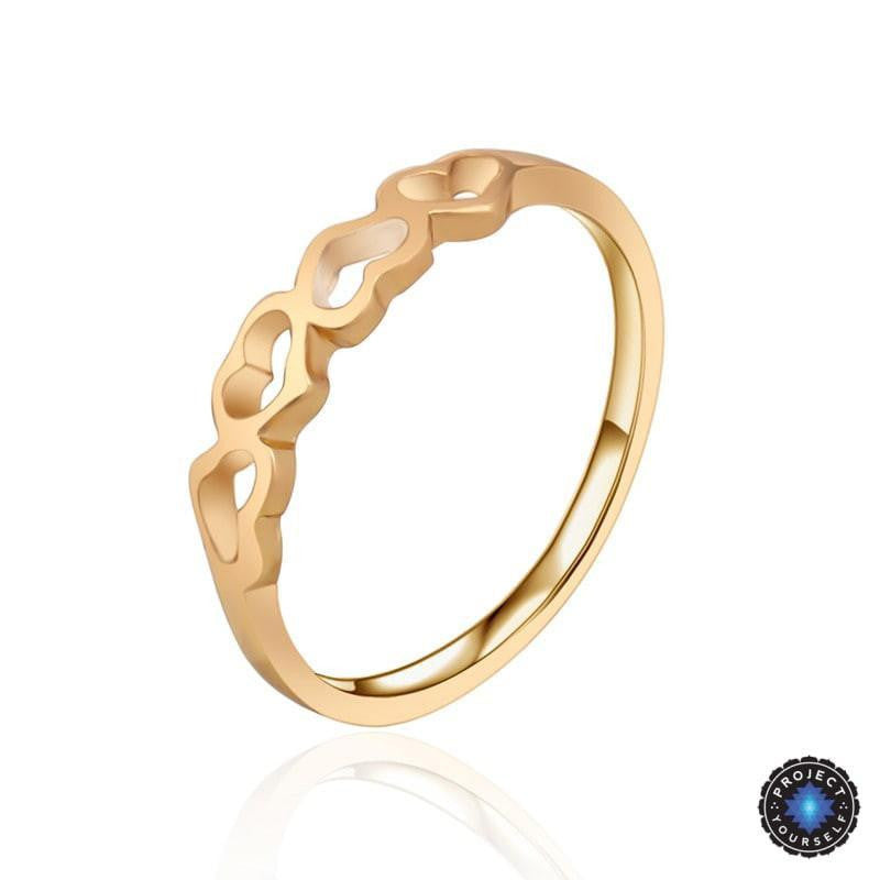 Gorgeous Dancing Hollow Hearts Gold Ring Project Yourself