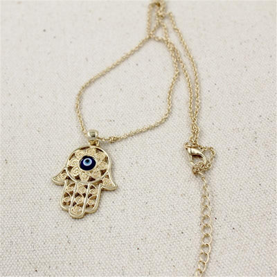 Gorgeous Hand of Fatima Blue Evil Eye Necklace Necklace