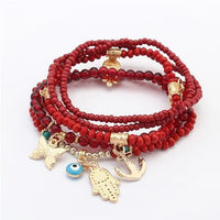 Hamsa and Evil Eye Multilayer Beads Bracelet Red Bracelet