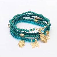 Hamsa and Evil Eye Multilayer Beads Bracelet Teal Bracelet