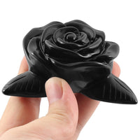 Hand Carved Black Obsidian Rose 4 Leaves Decor