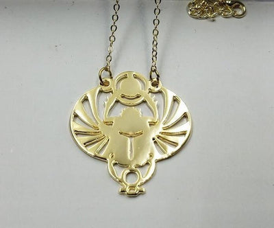 Handcut Winged Scarab Pendant Necklace Gold Necklaces