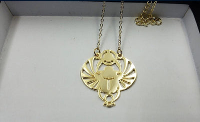 Handcut Winged Scarab Pendant Necklace Necklaces
