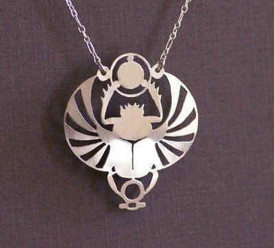 Handcut Winged Scarab Pendant Necklace Silver Necklaces