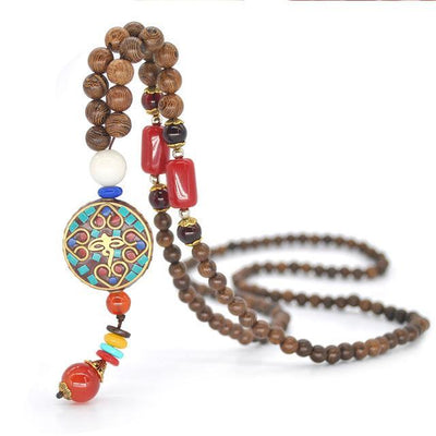 Handmade Nepal Buddhist Wenge Mala Necklace Circle 1 Necklace