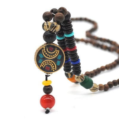 Handmade Nepal Buddhist Wenge Mala Necklace Circle 2 Necklace
