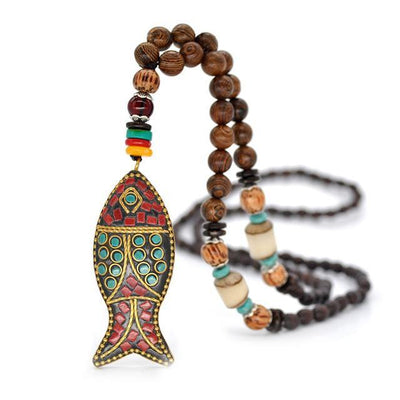 Handmade Nepal Buddhist Wenge Mala Necklace Fish Necklace
