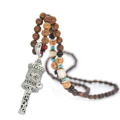 Handmade Nepal Buddhist Wenge Mala Necklace Prayer Wheel 1 Necklace