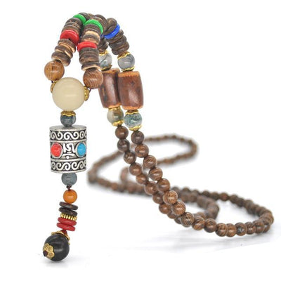 Handmade Nepal Buddhist Wenge Mala Necklace Prayer Wheel 2 Necklace