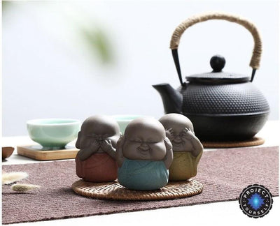 "Handmade ""See No Evil, Hear No Evil, Speak No Evil"" Buddha Purple Sand Tea Pet Buddha Statue"