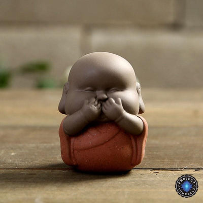 "Handmade ""See No Evil, Hear No Evil, Speak No Evil"" Buddha Purple Sand Tea Pet Red Buddha Statue"