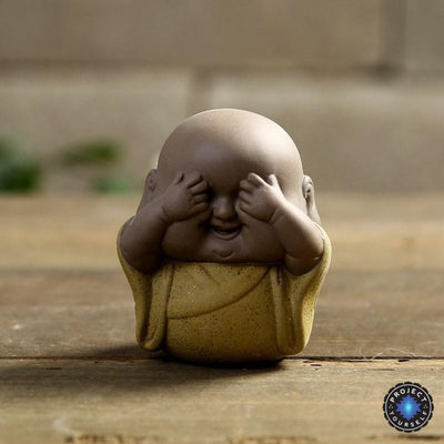 "Handmade ""See No Evil, Hear No Evil, Speak No Evil"" Buddha Purple Sand Tea Pet Yellow Buddha Statue"
