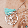 Handmade Seed Of Life Pendants Necklace with Mint Green Tassel pendant
