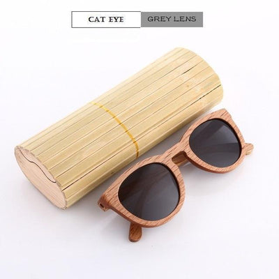 Handmade Wooden Sunglasses Black Cat Eyewear