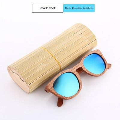 Handmade Wooden Sunglasses Blue Cat Eyewear