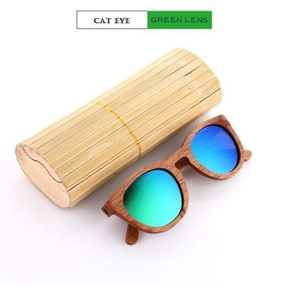 Handmade Wooden Sunglasses Green Cat Eyewear