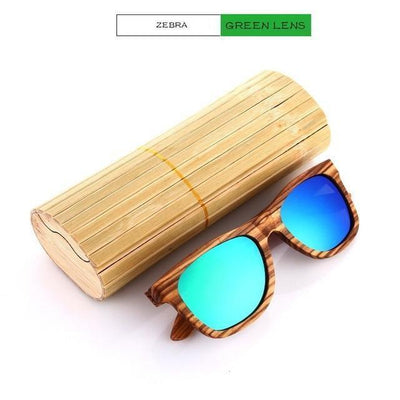 Handmade Wooden Sunglasses Green Zebra Eyewear