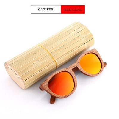 Handmade Wooden Sunglasses Red Cat Eyewear