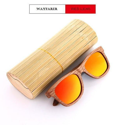 Handmade Wooden Sunglasses Red Wayfarer Eyewear