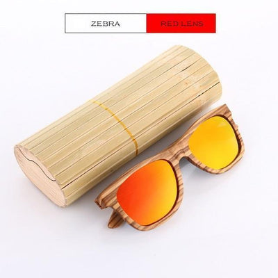 Handmade Wooden Sunglasses Red Zebra Eyewear